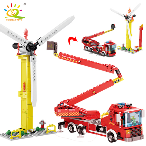 huiqibao 400 pcs cidade fogo escada caminhao modelo blocos de construcao kit bombeiro 2 figuras