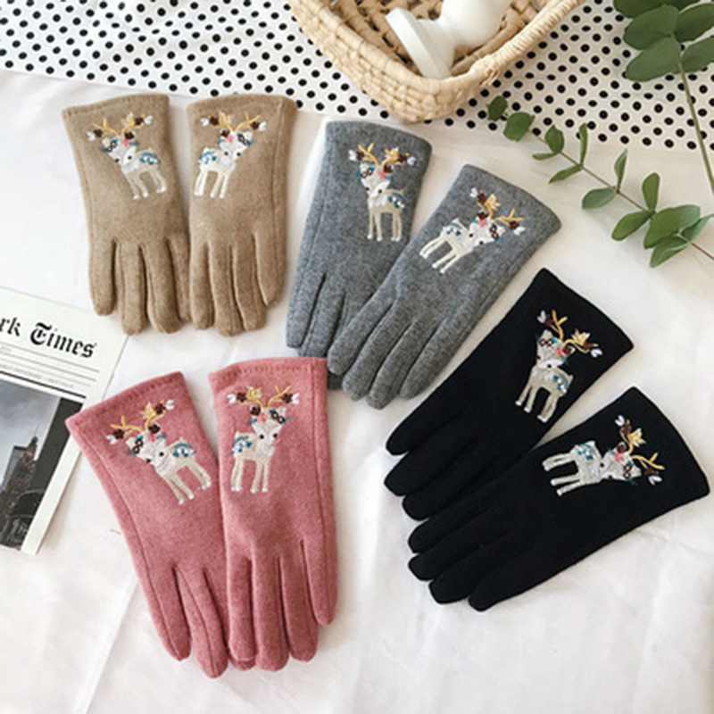 Female Cashmere Cute Deer Leopard Orint Embroidered Touch Screen Gloves Winter Women Wool Thickened Driving Warm Gloves K1