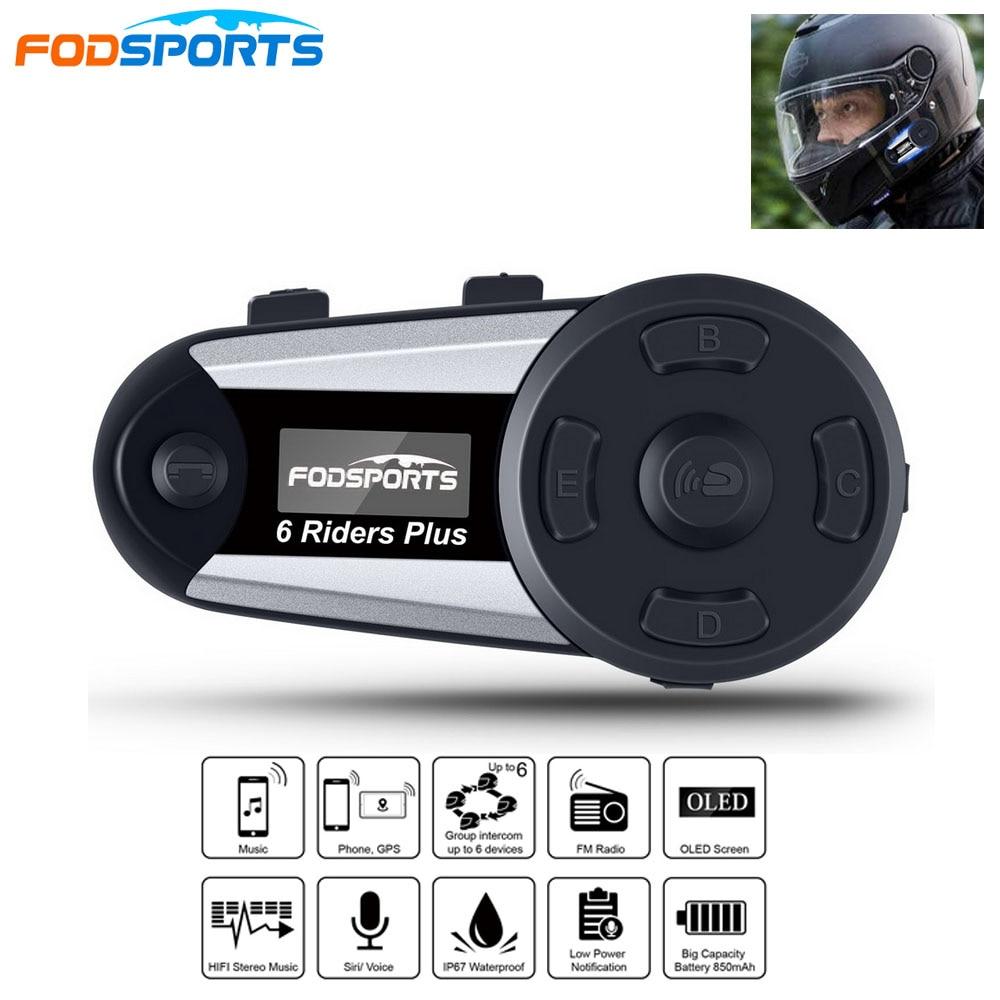 V6 Plus 6 Riders Motorcycle Intercom Helmet Headset Wireless BT Full-Duplex Bluetooth Intercomunicador Interphone FM OLED Screen