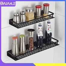 Kitchen Shelf Storage Rack Seasoning Aluminum Kitchen Rack Organizer with Towel Bar Wall Mounted Spice Rack Bathroom Shelf Black high quality aluminum bathroom shelf bathroom shelves rack organizer wall mounted shelf bath organizer with towel hanger rack
