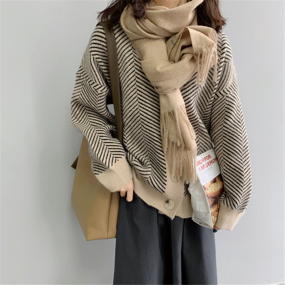 Winter Knitted Sweater Cardigans Women 2020 Spring Open Stitch Loose Knit Cardigans Pink Jumper Striped Sweater Coat Femme 9220 (26)