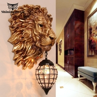French Luxury Lion Animal Shade Wall Lamp Modern Home Decor Kitchen Wall Light Vintage Bedroom Indoor Lighting Wall Sconce Lamp