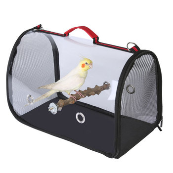 Portable Travel Bird Cage with Wooden Standing Stick Transparent Parrot handbag breathable shoulder bag Birds cage outdoor