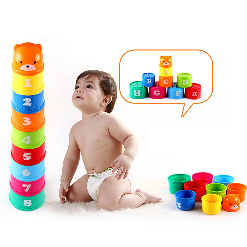 9pcs/set Foldind Stack Cup Tower Figures Letters Educational Baby Toys Children Early Intelligence 24 Months Babies Games