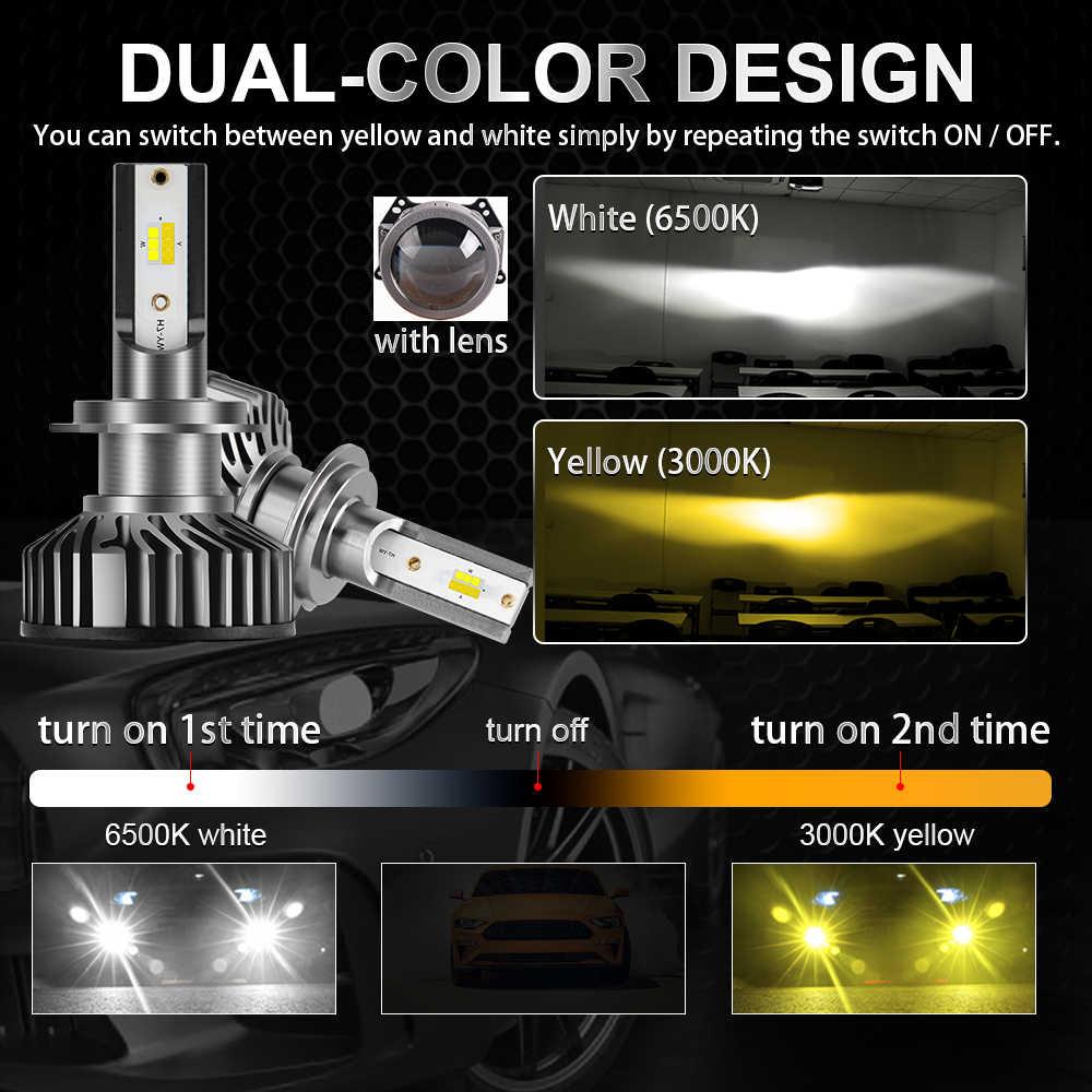 BraveWay 3000K + 6500K H1 H7 H8 H9 H11 светодиодный комплект фар для авто H7 светодиодный Canbus 9005 HB3 9006 HB4 светодиодный лампы 12V 24V 90 Вт 12000LM CSP
