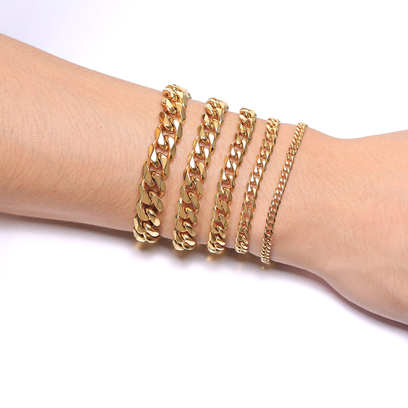 Men's Bracelet Curb Cuban Link Chain Stainless Steel Mens Womens Bracelets Bangle Gold Tone No Fade 3mm to 11mm 1