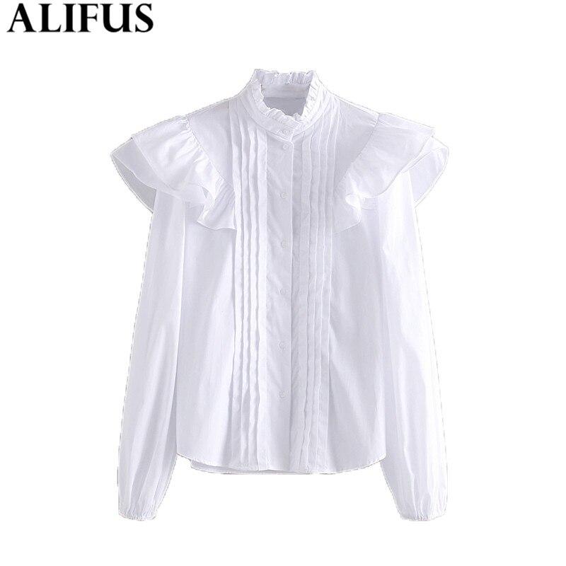 Fashion Za Women Shirt 2019 Casual Solid Ruffles Poplin Stand Collar Shirts Blouses Elegant Ladies Long Sleeve Blusas Tops