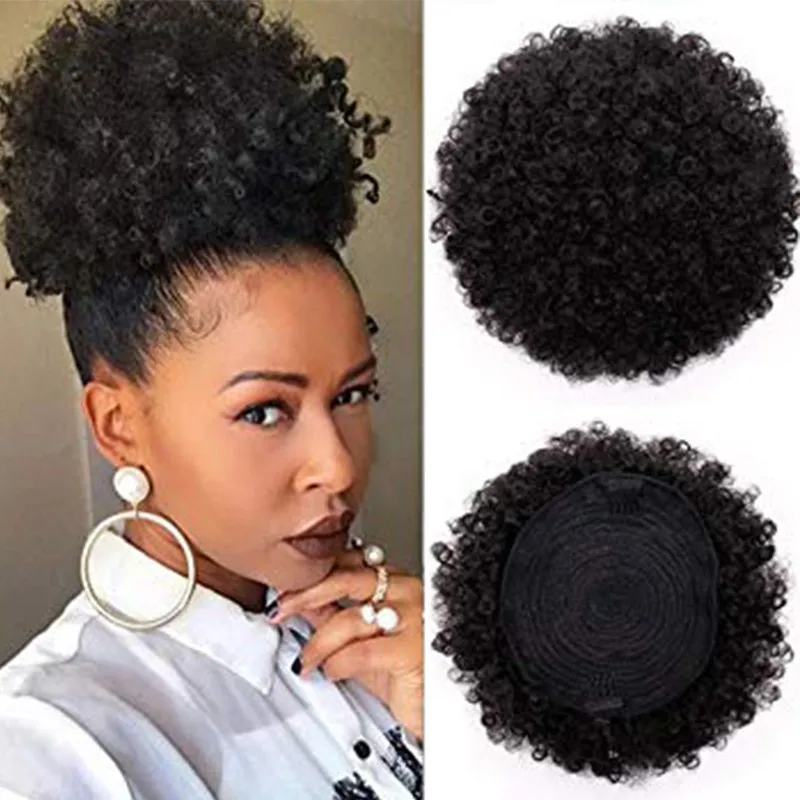 Sapphire Afro Puff Drawstring Ponytail Human Hair Short Afro Kinkys Curly Afro Bun Extension Hairpieces Hair Extensions 2 Clips