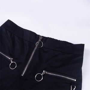 Image 4 - Vangull harajuku zipper streetwear women casual harem pants with chain New solid black pant cool fashion hip hop long trousers