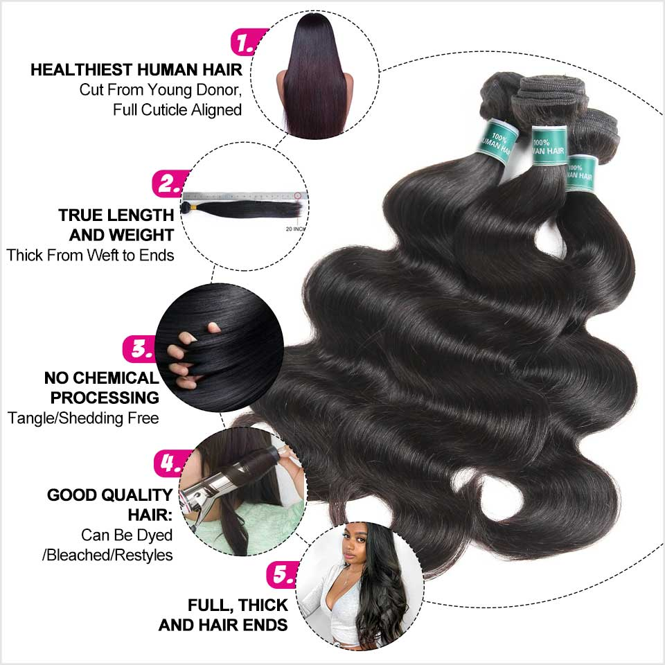 Image 3 - Ali Grace Hair Brazilian Body Wave 3 Bundles With 5x5 Lace Closure Human Hair Bundles with Closure Remy Hair Middle Free Part-in 3/4 Bundles with Closure from Hair Extensions & Wigs