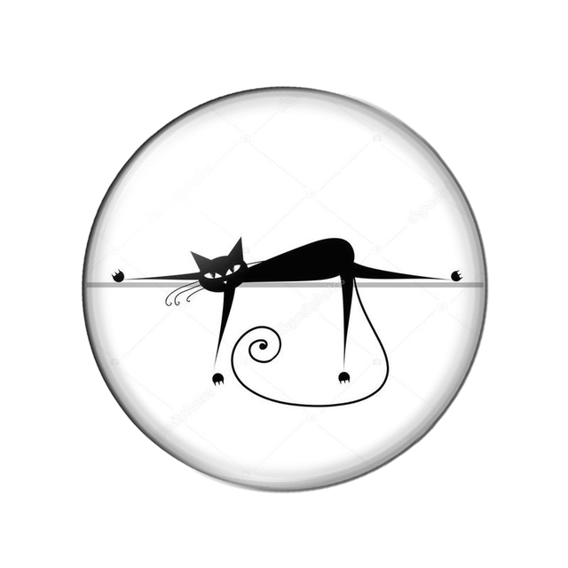 Nouveau joli chat de bande dessinée noir 8mm/10mm/ 12mm/18mm/20mm rond photo verre cabochon démo dos plat faisant des résultats ZB0543