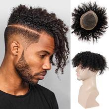 Verworrene Lockige männer Toupet für Schwarze Mann 100% Menschliches Haar Mono Spitze Ersatz African American Perücke 10x8 zoll 1B schwarz Remy Haar