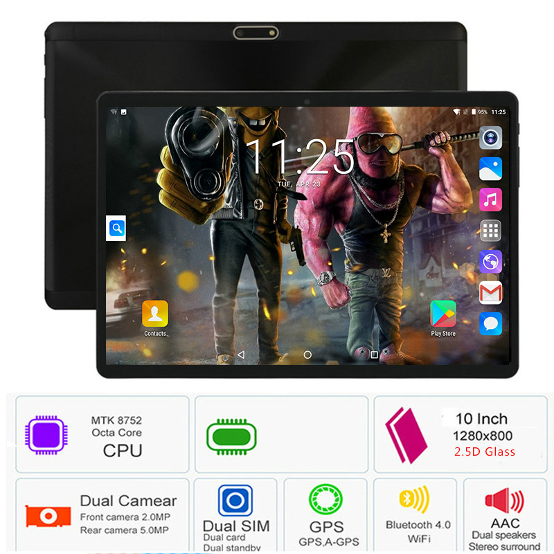 YAHU Android 8.0 Octa Core 10 Inch Tablet PC 6GB RAM 128GB ROM 5MP WIFI GPS 4G LTE 2.5D Tempered Glass IPS 1280*800 Kids Tablet