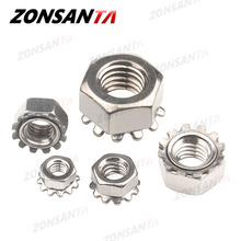ZONSANTA K-Lock Nut M3 M4 M5 M6 M8 K-type Gear K Lock Nuts DIY 304 Stainless Steel Keps Nuts Toothed Polydentate Hex K Nut free shipping 10pcs lot cw m3 lock nut aluminum lock nut with nylon inserted