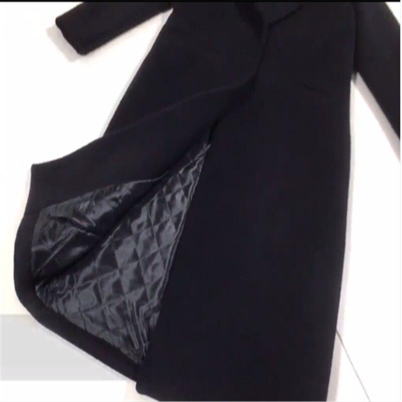 Tom Hagen Donna Cappotti di Inverno Coreano Cappotto di Lana Caldo Causale Cappotto Lungo Sottile Addensare Cappotto Più Il Formato Grigio Cappotto Lungo poncho Cappotto Delle Donne