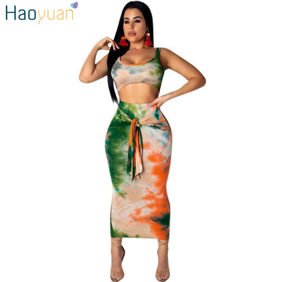 HAOYUAN Sexy Two Piece Set Club Outfits Tie Dye Crop Top And Midi Skirt Bodycon Fall Festival Clothes Women 2 Piece Matching Set