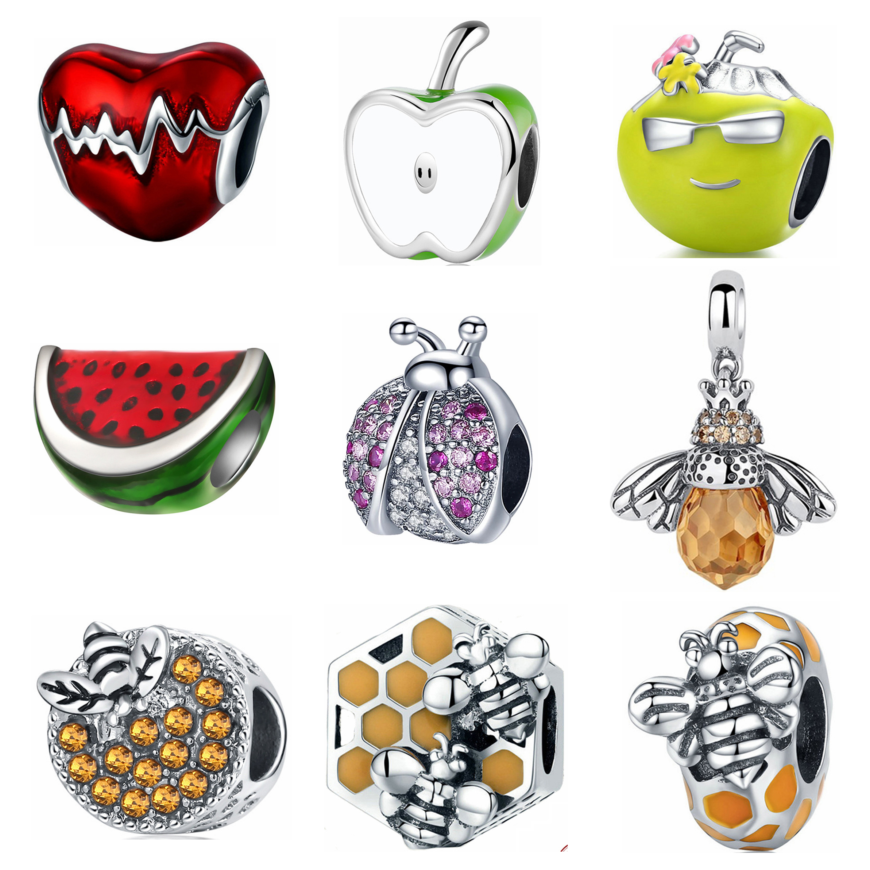 New 92 Multiple Styles Charm Beads Fit Pandora Charms 925 Sterling Silver Bangles Making Women European American DIY Jewelry