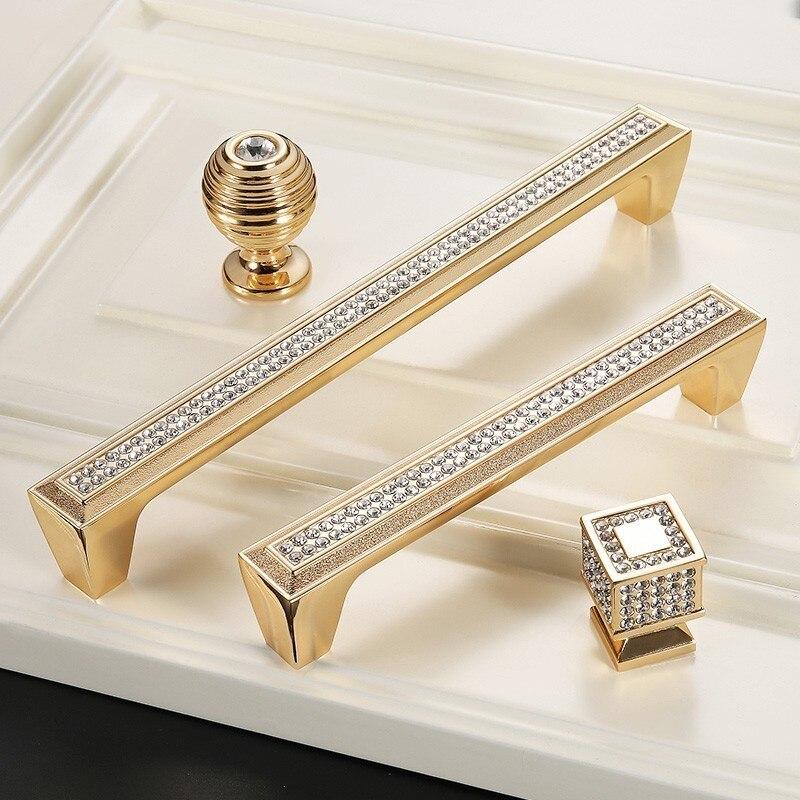 Poignées de porte en or pour armoires de cuisine boutons et poignées poignée de porte en cristal poignée de tiroir de poignée de meubles de placard européen