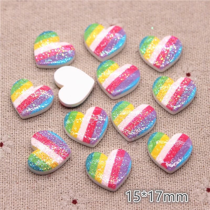 20pcs 15*17mm Glitter Resin Rainbow Printed Heart Flatback Cabochon DIY Hair Clip/Craft Decoration