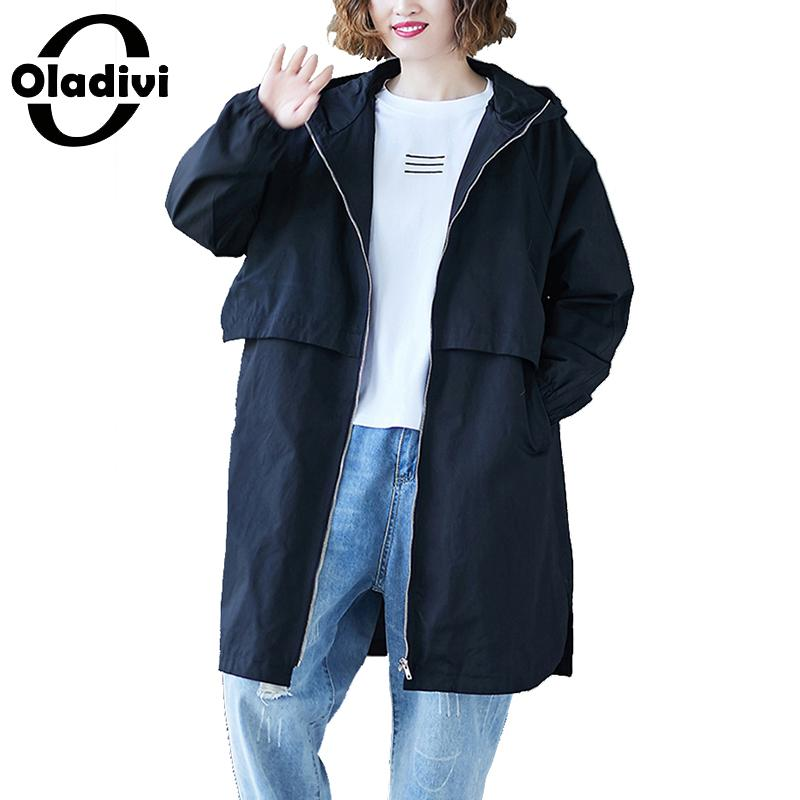 Oladivi Plus Size Women Hooded   Trench   Coat Fashion Lady Casual Loose Top Overcoats 2019 Autumn Spring Outerwear Female Cardigans