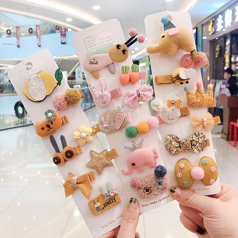 5/8/10/Set Gift Children Baby Cute Colors Cartoon Ornament Hair Clips Girls Soft Hairpins Barrettes Lovely Kid Hair Accessories