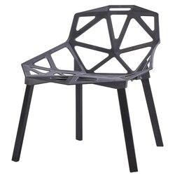 Silla moderna simple perezosa familia del norte de Europa Silla de comedor creativa geométrica hueco plástico respaldo individual arte de moda