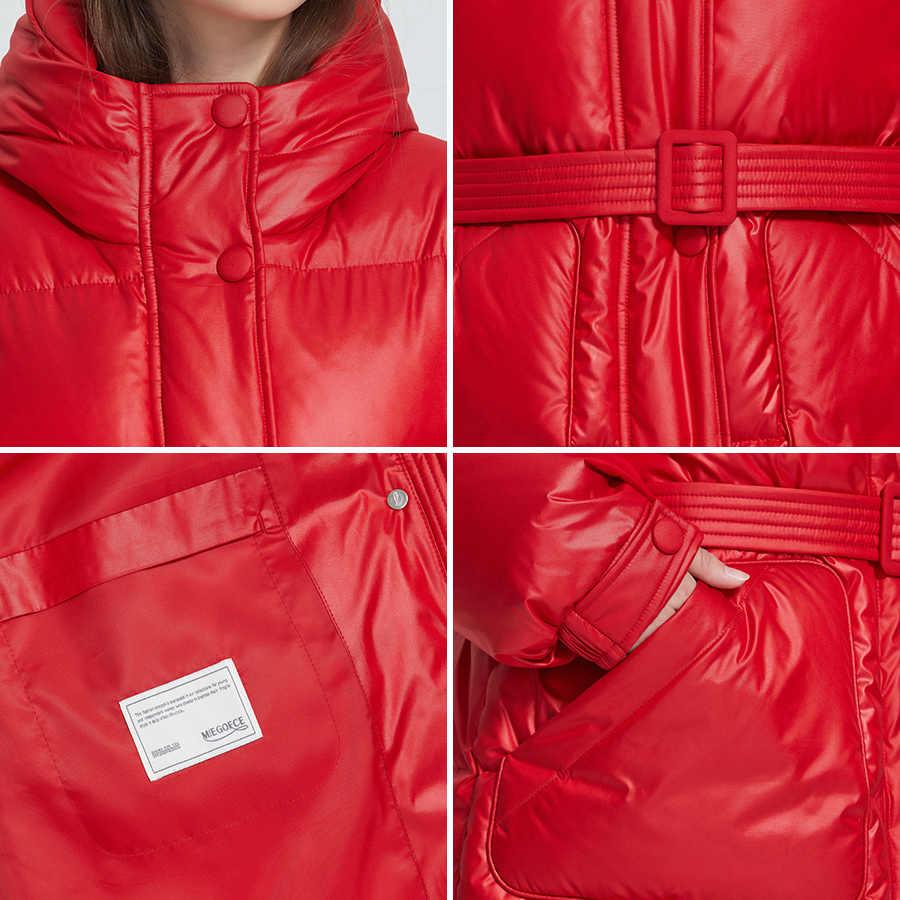 MIEGOFCE 2019 Neue Winter frauen Jacke Hohe Qualität Helle Farben Isolierte Puffy Mantel kragen mit kapuze Parka Lose Cut Mit gürtel