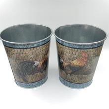 10 pièces/lot rond D12.5xH14CM Pots de fer Pot doeufs de pâques ferme coq boîtes en fer blanc planteur fleur vase SF 095 11