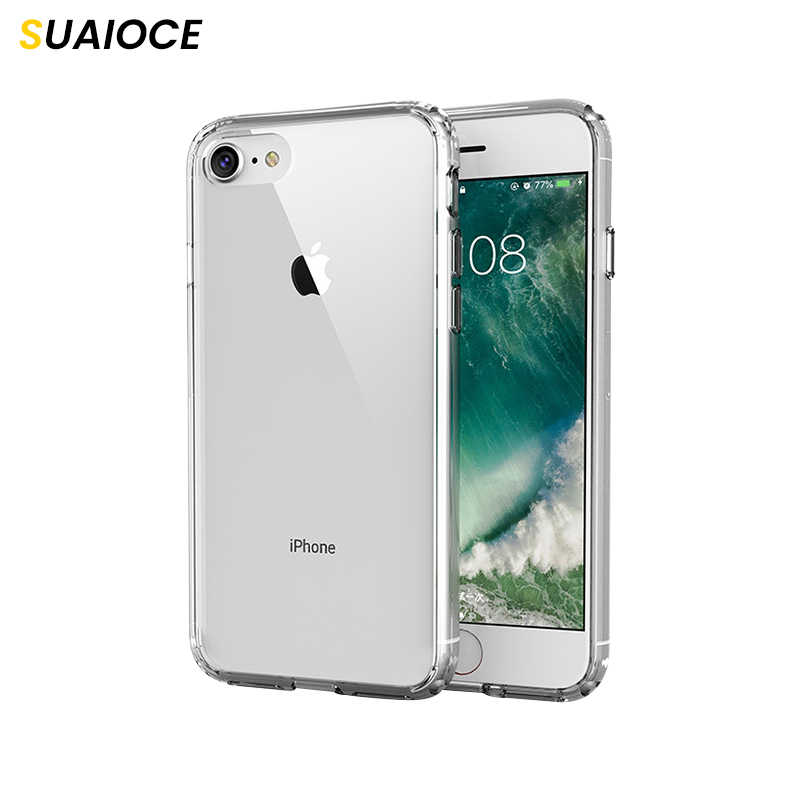 Suaioce Luxe Clear Telefoon Case Voor Iphone Se 2020 Case Bumper Soft Tpu Hard Pc Cover Voor Iphone 7 8 Plus Beschermhoes
