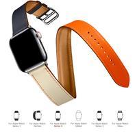 Doppel Tour Für Apple uhr band 44mm 40mm Echtes Leder armband gürtel armband iWatch band 38mm 42mm serie 3 4 5 6 strap