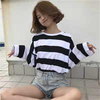 Harajuku Gestreiften Hemd Streetwear Frauen Kleidung 2019 Koreanische Stil Langarm Vogue Camisa Mujer Herbst T Shirt Femme Plus Größe