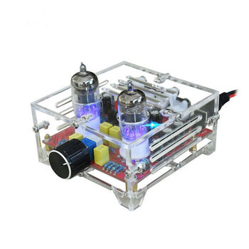 XH-A201 Hifi 6J1 Class A Bile Tube Preamplifier Amplifier o Finished Board With Acrylic Chassis himing rivals el34 bluetooth 4 0 tube amplifier wood version single ended handmade scaffolding hifi finished class a amplifier