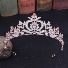 Fashion Blue Rose Gold Red Green Tiaras and Crowns for Girls mujer Pri