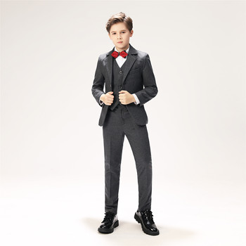 YuanLu Boys Suits For Wedding Party Piano Blazer Formal Costume Autumn & Winter Boys Jackets Slim Fit  Kids Suits Gray