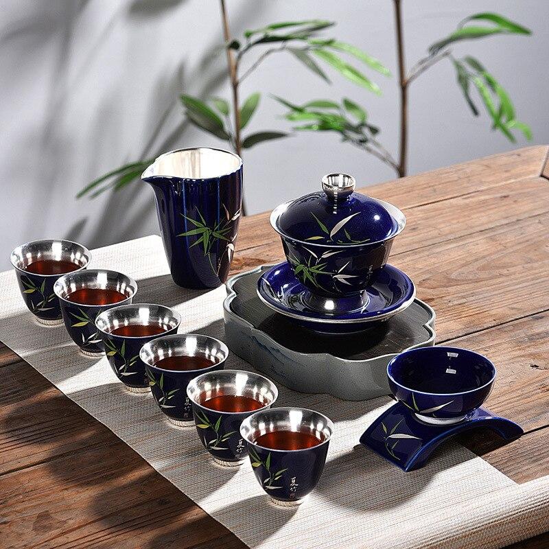 Seiko 999 Pure Silver Teapot Manual Pure Silver Kung Fu Silver Tea Set Silver Teapot Tea Ceremony Household