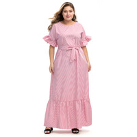 2019 Pink Striped Long Dresses Women Loose Butterfly Sleeve High Waist Dress With Sashes Femme Plus Size Maxi Dresses LW220