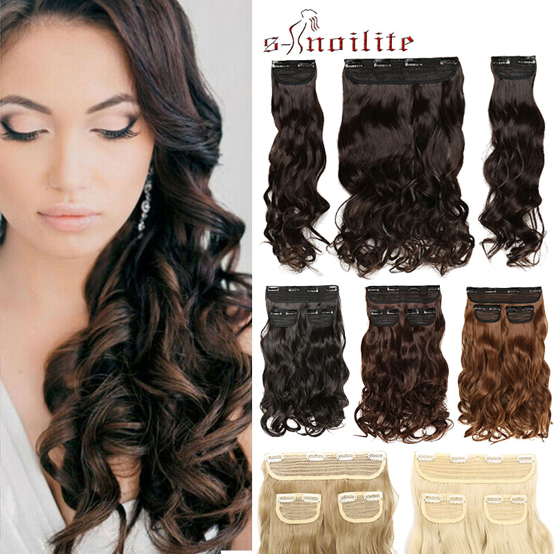 S-noilite Clips In Hair Extensions Hair Long Curly Synthetic Hairpieces For Women Extension Hair Clips Fake Hair Heat Resistant