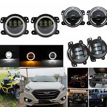 4inch Led Nebel Lichter mit Halo Winkel Auge DRL Driving Off road Lampe für Jeep Wrangler JK TJ LJ hummer H1 H2 Dodge Chrysler Front
