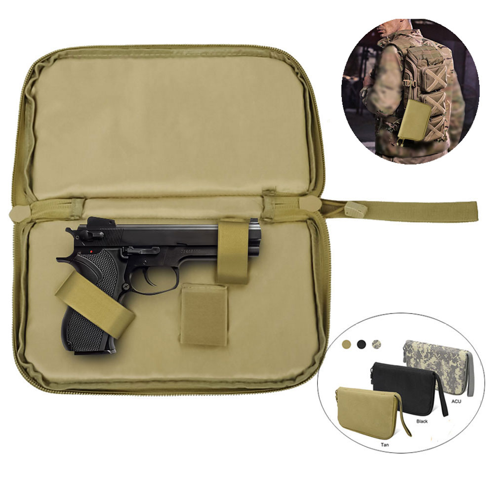 Tactical Pistol Pouch  Gun Carry Bag Case Portable Magzine Holster Military Handgun Carrier Soft Protector Hunting Accessories