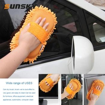Rękawice do mycia samochodów najdrobniejsze włókno Chenille Anthozoan rękawice do mycia samochodów wielofunkcyjny magiczny czyścik samochodowy tanie i dobre opinie PULUZ 21cm Microfiber Chenille Gąbki Tkaniny i szczotki 262g Car Washing Gloves 11cm