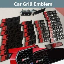 Значок на переднюю решетку автомобиля для Audi A3 A4 A5 A6 A7 S3 S4 S5 S6 S7 S8 RS3 RS4 RS5 RS6 RS7 RS8 SQ3 SQ5 SQ7 S Эмблема для модификации линии