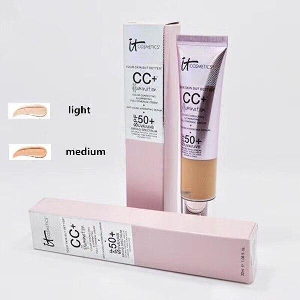 Face Concealer It Cosmetics CC+ Cream Illumination SPF 50 Full Cover Medium or Light Hide Blemish Corrector It's Skin Makeup