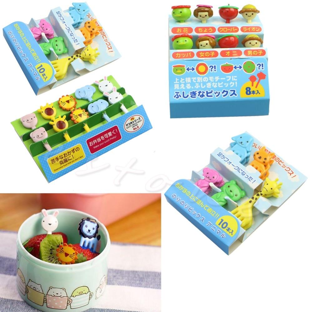 1 pacote mini animal fazenda dos desenhos animados garfo frutas picareta sinal bento almoços festa decoração