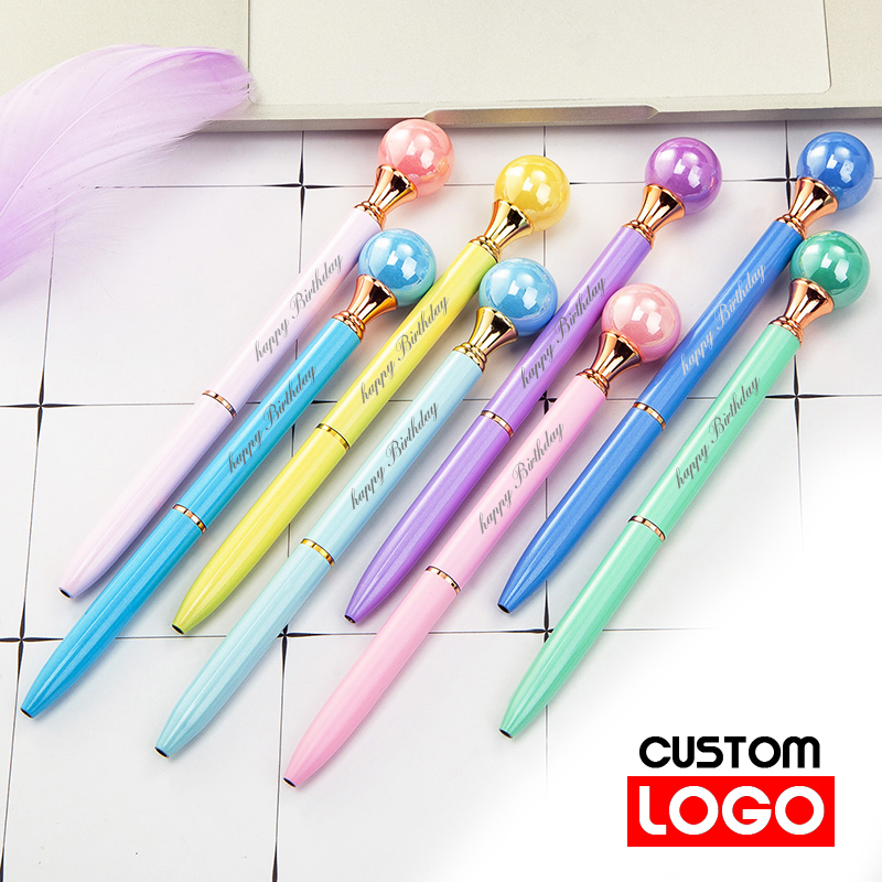 Color Pearl <font><b>Pen</b></font> Metal Ballpoint <font><b>Pen</b></font> Business <font><b>Gift</b></font> <font><b>Pen</b></font> Office Stationery Custom Logo School Supplies Lettering <font><b>Engraved</b></font> Name image