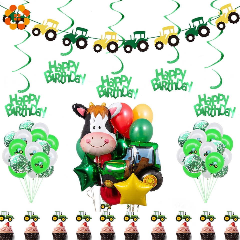 Farm Tractor Party Excavator Vehicle Banner Inflatable Balloons Happy Birthday Party Decoration Children Party Supplies Tractor