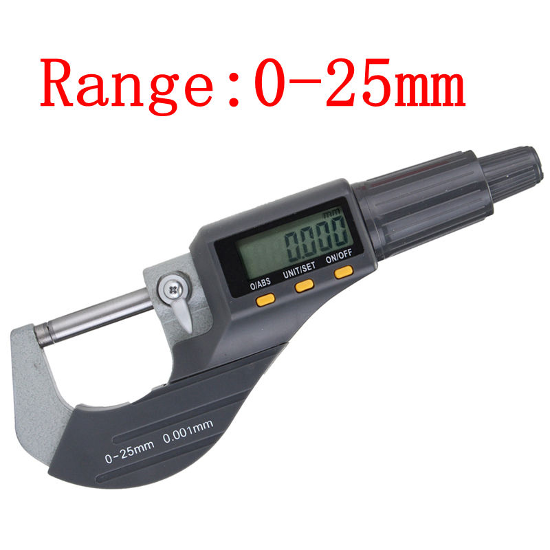 """1Pcs Durable Electronic LCD Micrometer Digital 0 25mm 0.001mm/0.00005"""" Range Thickness Gauge Durable Measuring Tool Resolution