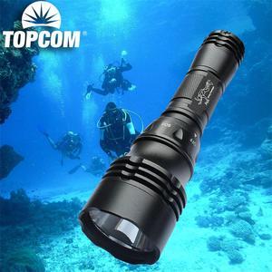 TopCom XML T6 Дайвинг фонарик, Дайвинг мощный светодиодный фонарик Водонепроницаемый, подводный Перезаряжаемые Дайвинг