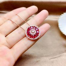 MeiBaPJ Natürliche Verbrannt Rubin Blume Anhänger Halskette Echt 925 Reinem Silber Feine Hochzeit Schmuck für Frauen