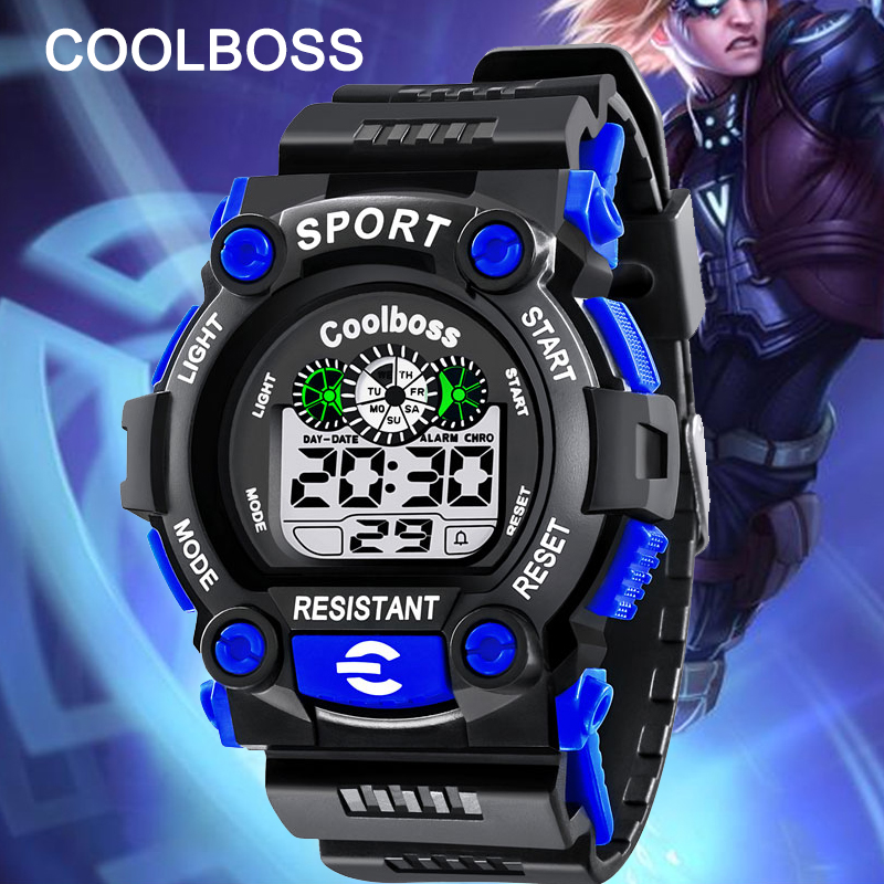 For 10-18year COOLBOSS Kids Watches Boys Clock Children Sport LED Digital Wristwatch Electronic Wrist Watch For Boy Girls Birthd