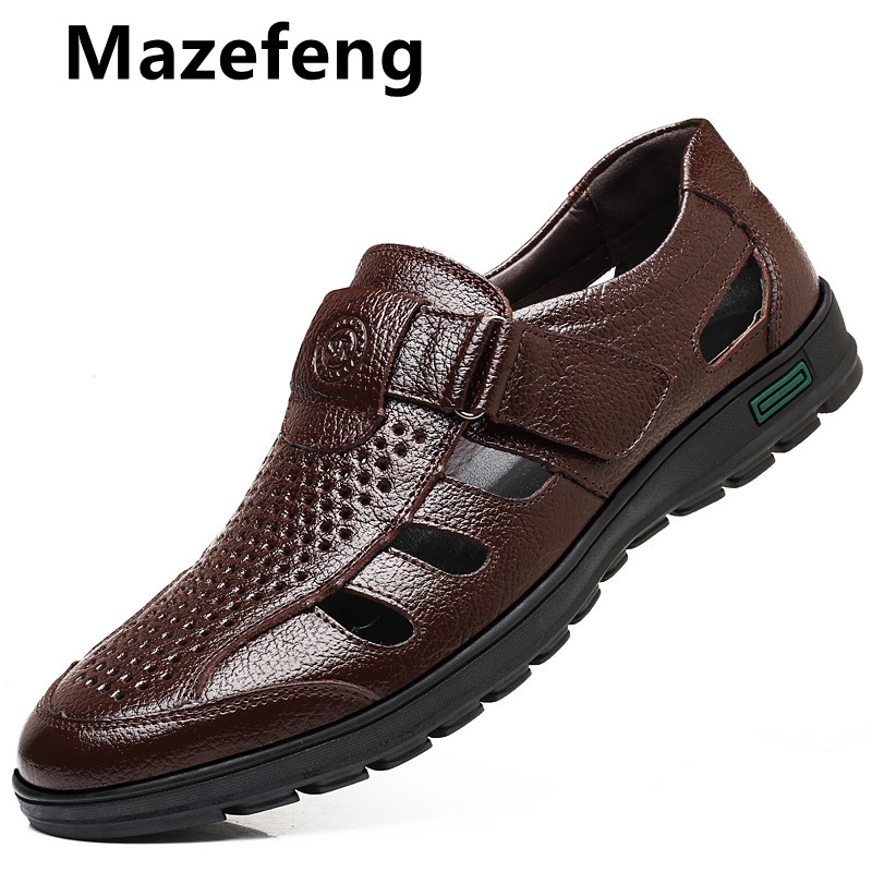 Mazefeng Fashion Summer Genuine Leather Shoes Men Solid Hollowed Out Men Casual Shoes Breathable Wear-resistant Men Dress Shoes